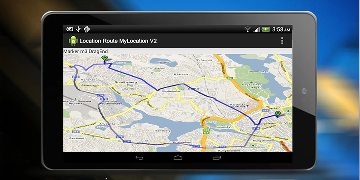 Driving route from my location to destination in Google Maps Android on